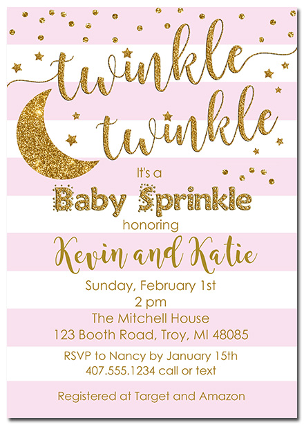Twinkle Star Girl Baby Sprinkle Invitations