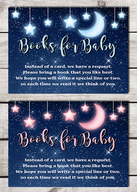 Twinkle Little Star Books for Baby Shower Insert Cards