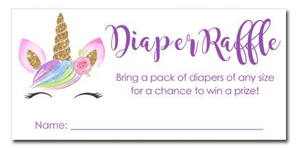Unicorn Baby Shower Diaper Raffle Tickets