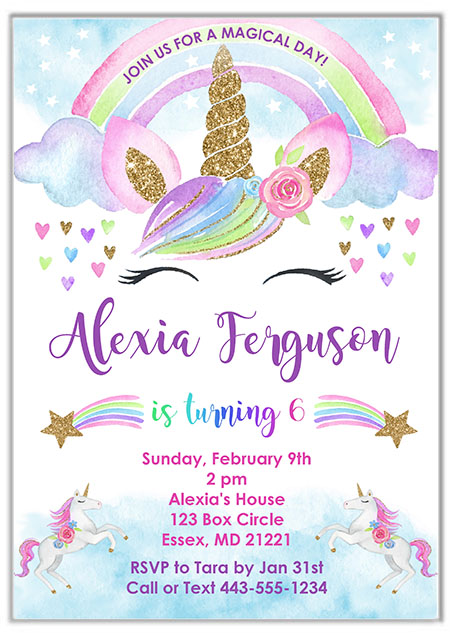 Rainbow Unicorn Party Invitations