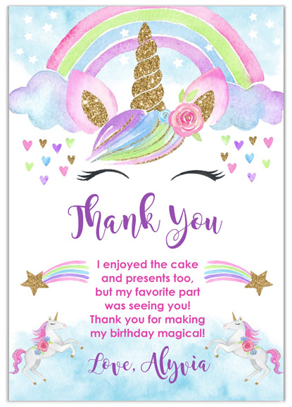 Rainbow Unicorn Custom Thank You Cards