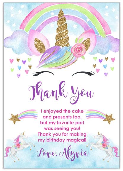 Rainbow Unicorn Custom Thank You Cards