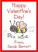 Valentine's Day Bee Personalized Crayon Box Labels Favors