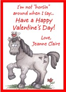 Valentine's Day Horse Personalized Crayon Box Labels