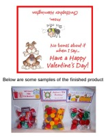 Valentine's Day Dog Party Bag Toppers Favors w/Recloseable Bags