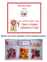 Valentine's Day Lion Party Bag Toppers Favors w/Recloseable Bags