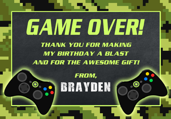 Video Game Thank You Cards Personalized