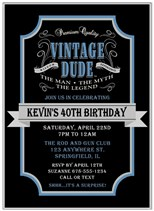 Vintage Birthday Party Invitations