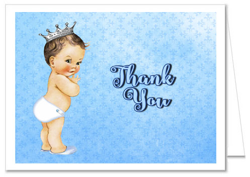 Prince Baby Shower Thank You Note Cards