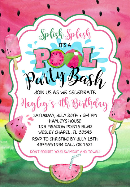 Watermelon Birthday Pool Party Invitations
