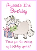 White Pony Birthday Crayon Box Labels Favors