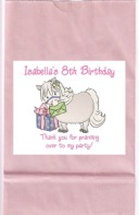 White Pony Birthday Party Goodie Loot Bag Labels Favors