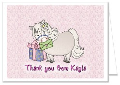 White Pony Thank You Note Cards Personalized