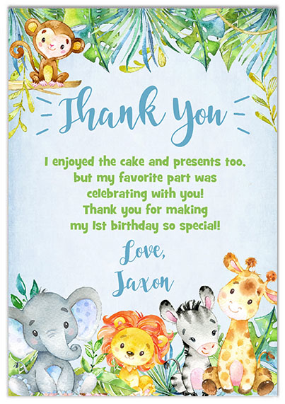 Jungle 1st Birthday Boy Thank You Cards