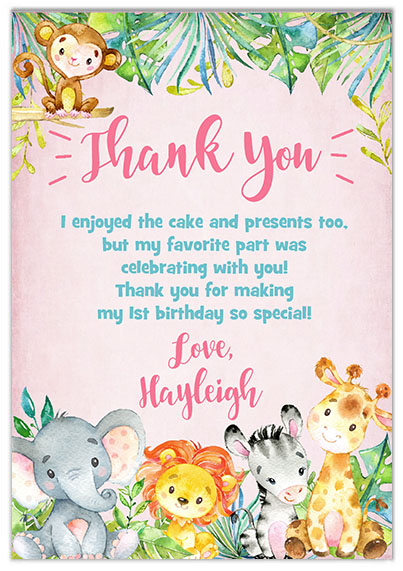 Jungle 1st Birthday Girl Thank You Cards
