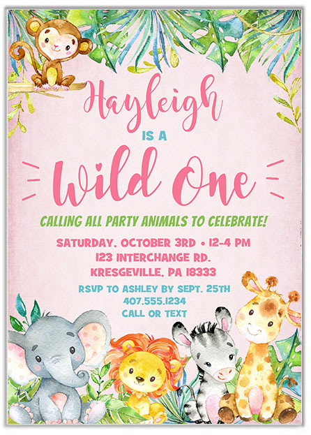 Wild One Jungle 1st Birthday Girl Party Invitations