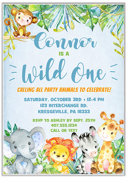 Wild One Jungle 1st Birthday Party Invitations