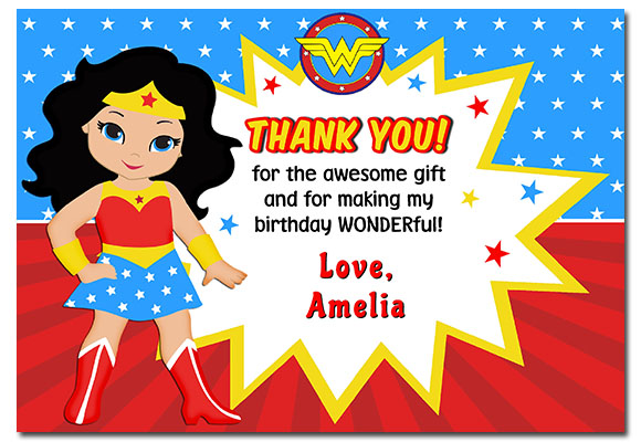 Wonder Woman Thank You Cards Personalized