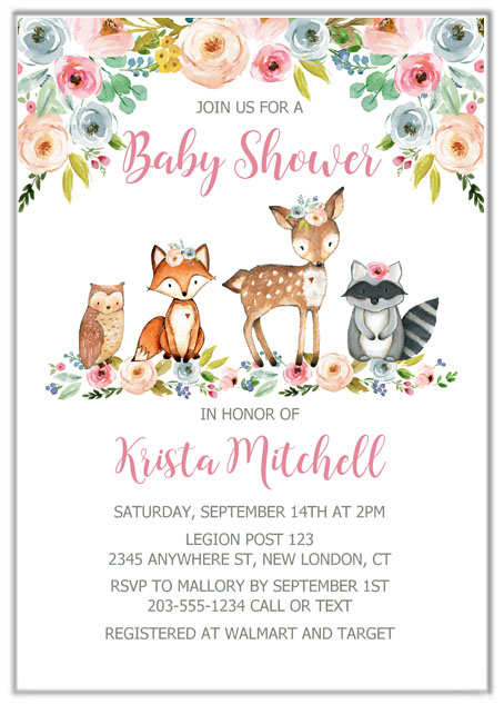 Woodland Animals Girl Baby Shower Invitations
