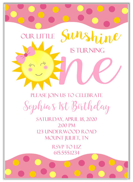 Sunshine Birthday Party Invitations