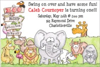 Zoo Animal Birthday Party Invitations