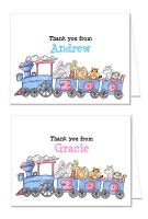 Zoo Animals Birthday Party Thank You Note Cards Boy or Girl